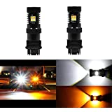 2PCS 3157 3155 3457 4157 Switchback White/Yellow LED Bulbs with Projector for Turn Signal Light