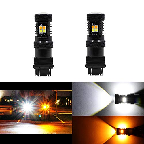 2PCS 3157 3155 3457 4157 Switchback Turn Signal Lights White/Yellow LED Bulbs Extremely Bright 3030 Chipsets Lamp (Set Chip Via Ram)