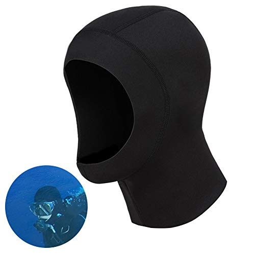 Fullyy Neoprene Scuba Diving Hood 1MM Wetsuit Diving Cap,Bib Dive Hood Warm Durable Stretchable for Snorkeling Surfing Kayaking Swimming Sailing Canoeing Water Sports -
