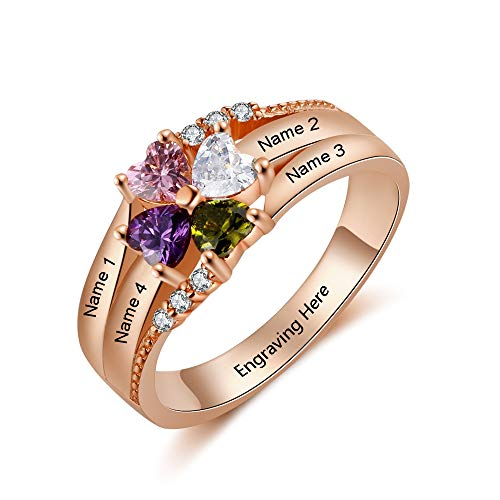 LanM Personalized Mother Rings with 4 Simulated Birthstones Rings for Women Mothers Days Rings Family Name Rings for Mom (6)