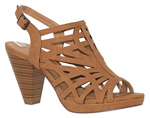 MVE Shoes Fashion Mid Heel Ankle Buckle Open Toe Strappy Sandal, SUNLUS TAN NBPU 6.5
