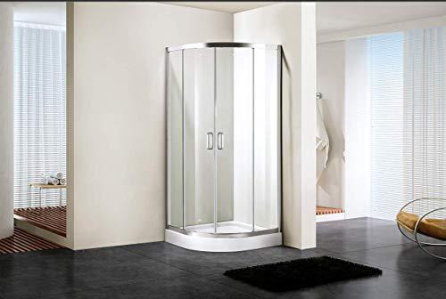 Tiaque Sliding Corner Glass Quadrant Shower Enclosure, 34 in. x 34 in. x 76in, Quadrant Shower Cubicle Clear Glass Shower Doors No Base, Chrome Finish