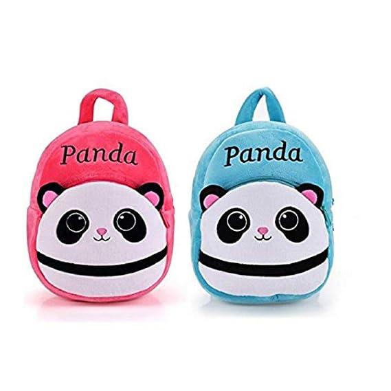 Blue Tree Plush Velvet Blue and Pink School Bag for Kids (Panda 3 to 5 Year)
