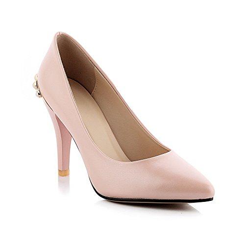 AgooLar Damen Ziehen auf Spitz Schließen Zehe Stiletto PU Rein Pumps Schuhe Pink