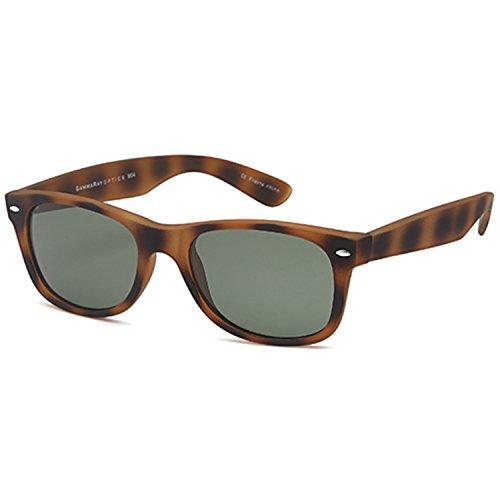 GAMMA RAY UV400 52mm Adult Classic Style Sunglasses – Olive Lens on Tortoise - Tortoise New Wayfarer