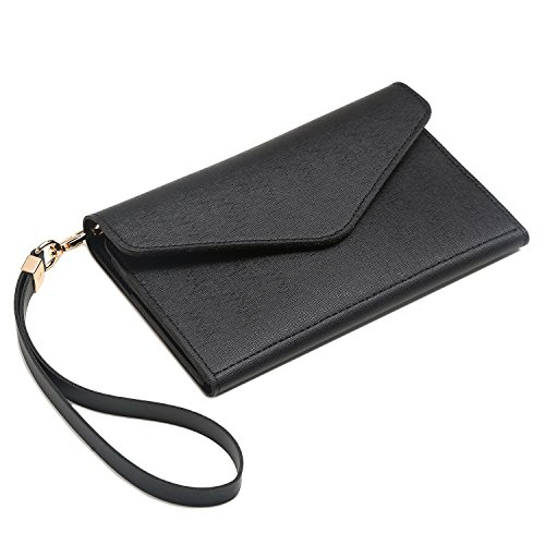 Krosslon Travel Passport Holder Wallet for Women Rfid Blocking Document Organizer Tri-fold Wristlet Bag, 1# Black