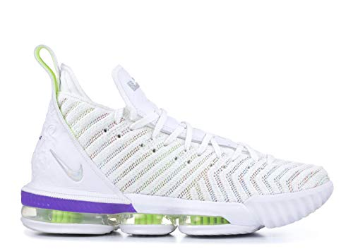 Nike Men's Lebron 16 Basketball Shoes (16, White/Hyper Grape/Volt) (Men Nike Basketball Shoes Hyper)