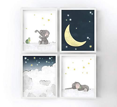 - Elephant, Moon, and Stars Nursery Prints - Set of 4 Clouds, Starry Sky, Turtle and Elephant Kids Room Decor, Animal Nursery Art Prints