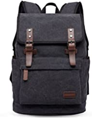 JFA Canvas Laptop Backpack Genuine Leather Multifunction Large School Bag Travel Hiking Rucksack