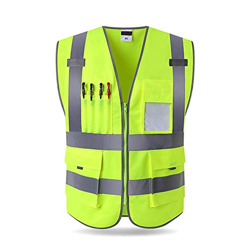 (sweetyhomes Executive Vest High Visibility Work Waistcoat Mens Shirt Reflective Tape Safety Security Wear Ladies Top Tops Reversible Workwear Uniforms Warm Railway Vests Jacket Hi-vis)