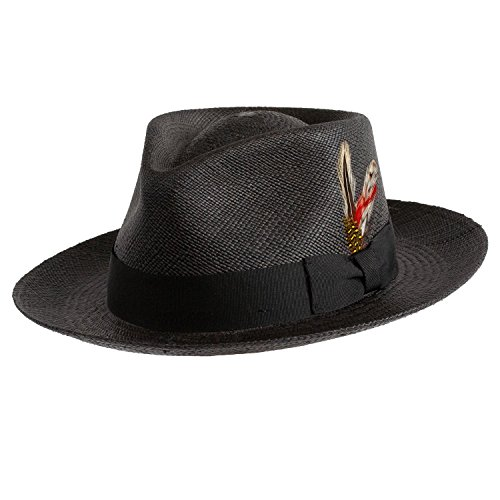 Levine Hat Co. Genuine Panama Bogart Fedora Straw Dress Hat (XLarge (fits 7 1/2 to 7 5/8), Black)