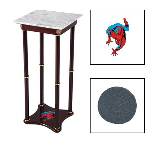 Square White Marble Bottom Accent Table Featuring the Choice of Your Favorite Superhero Themed Logo on the Bottom Shelf! FREE Coaster Included! (Spiderman)