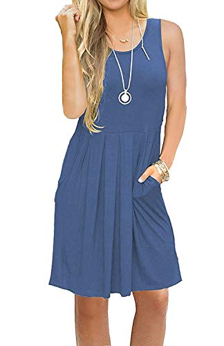 AUSELILY Women's Sleeveless Pleated Loose Swing Casual Dress with Pockets Knee Length (L, 01Beja Blue)