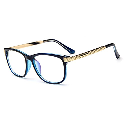 LOMOL Unisex Fashion Classic Retro College Style Transparent Clear Lens Frame - Light Cheapest Blue And D G