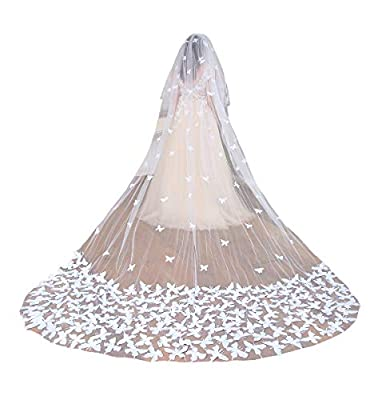 Fenghuavip 2T Wedding Veils Cathedral Veil for Brides with Butterfly Appliques