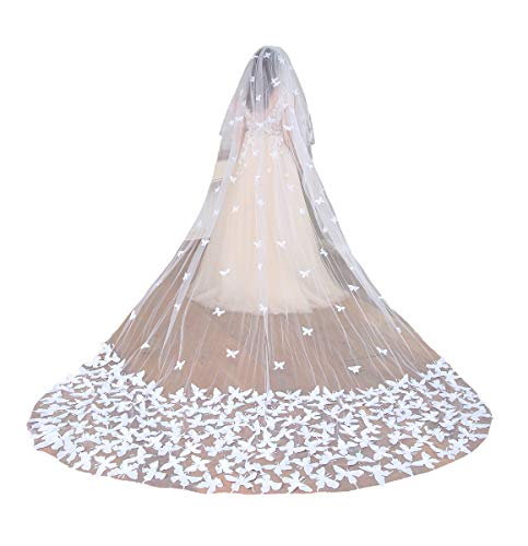 Fenghuavip 2T Wedding Veils Cathedral Veil for Brides with Butterfly Appliques (Ivory) (Butterfly Wedding)