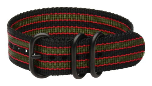 Clockwork Synergy - 3 Ring Heavy NATO PVD Black Watch Strap Bands (22mm, Black / Green / Red)