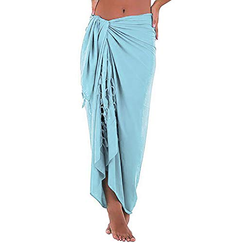 POHOK Womens Beach Multifunction Solid Cover up Sarong Swimsuit Cover-up Smock Dress (L,Blue) (Revere Ware Handles)