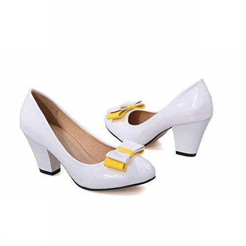 MissSaSa Damen simpel Chunky heel Pointed Toe Low-cut Lackleder Pumps mit Schleife und Blockabsatz Weiß
