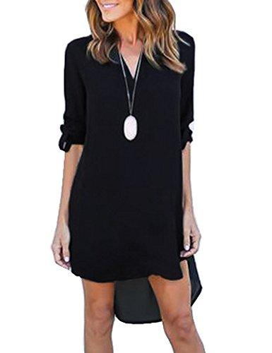 Celltronic Womens Summer V Neck Blouse Dress Loose Casual Tunic Chiffon Long Tops