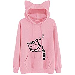 LisYOU Womens Long Sleeve Cat Print Pullover Sweatshirt Hoodie(S,Pink)