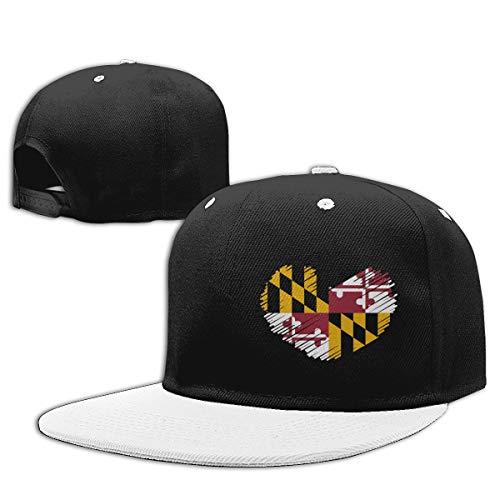 Maryland Flag in Heart Shape Baseball Caps, Unisex Adjustable Hip Hop Flat Bill Snapback Hats White]()