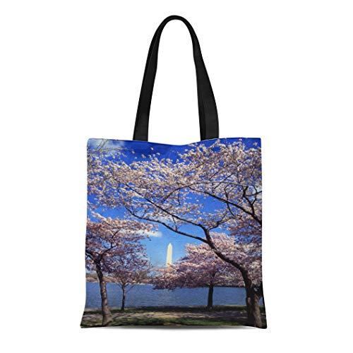 Semtomn Cotton Line Canvas Tote Bag Blue Sky Cherry Blossom in Washington Dc Tree Flower Reusable Handbag Shoulder Grocery Shopping Bags