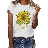 Womens Plus Size Print Funny Sunflower Short Sleeve T-Shirt Blouse Tops Summer Casual Loose,Cap Sleeve Cute T-Shirt Tops XL