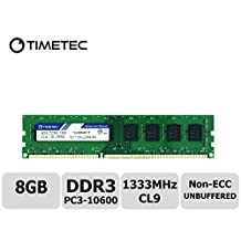 Timetec Hynix IC 8GB DDR3 1333MHz PC3-10600 Unbuffered Non-ECC 1.5V CL9 2Rx8 Dual Rank 240 Pin UDIMM Desktop Memory Ram Module Upgrade (8GB)