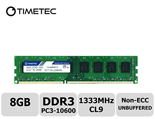 Timetec Hynix IC 8GB DDR3 1333MHz PC3-10600 Unbuffered Non-ECC 1.5V CL9 2Rx8 Dual Rank 240 Pin UDIMM Desktop Memory Ram Module Upgrade - Motherboard Server Tyan