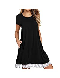Sunmoot Lace Trim Swing T-Shirt Dresses for Women Short Sleeve Pocket Tunic Casual Loose Plain A-Line Party Dress