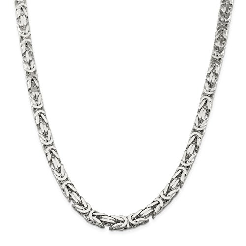 Lex & Lu Sterling Silver 8.25mm Square Byzantine Chain Necklace or (Sterling Silver Square Byzantine Necklace)