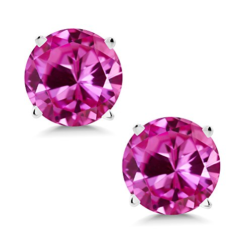 Gem Stone King 2.00 Ct Round 6mm Pink Created Sapphire 14K White Gold Stud Earrings