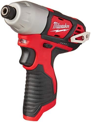 Milwaukee 2462-20 M12 1 4 Inch Hex Shank 12 Volt Lithium Ion Cordless 2,500 RPM 1,000 Inch Pounds Impact Driver w LED Light and Fuel Gauge Battery Not Included, Power Tool Only