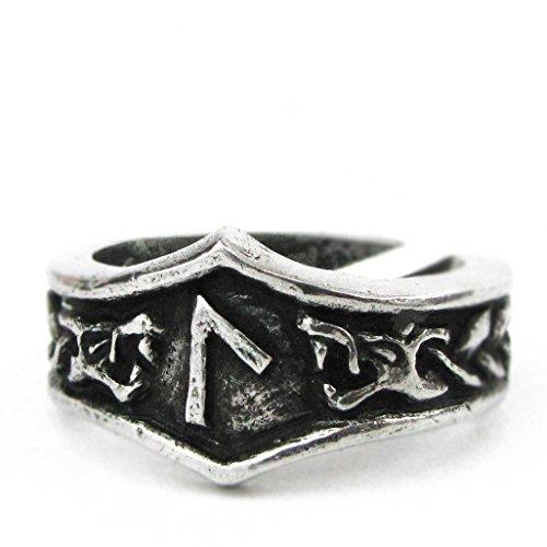 Asgard - Unisex Viking Pewter Adjustable Runic Ring (L- Laguz)