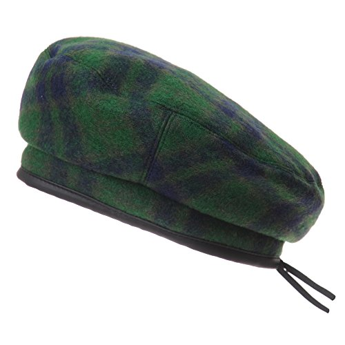 WITHMOONS Wool Beret Hat Tartan Check Leather Sweatband KR3781 (Green) ()