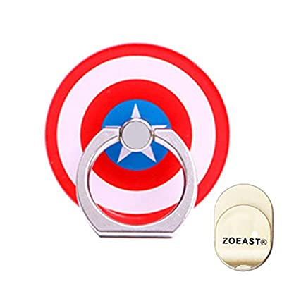 ZOEAST(TM) Phone Ring Grip Marvel Super American Hero Universal 360° Adjustable Holder Car Hook Stand Stent Mount Kickstand Compatible with All iPhones Samsung Android Pad Tablet (Captain)
