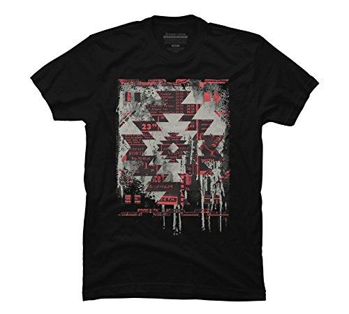 Aztec Modern Men's Large Black Graphic T Shirt - Design By (Black Ink Design T-shirt)
