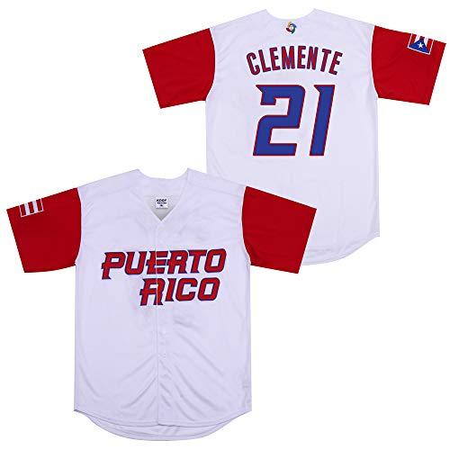 Roberto Clemente #21 Puerto Rico World Classic Baseball Jersey Men (White, Medium) (Puerto Jersey Rican)