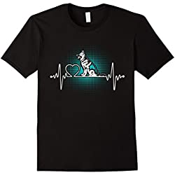 Mens German shepherd heartbeat Tshirts- I Love Dog shirts Large Black