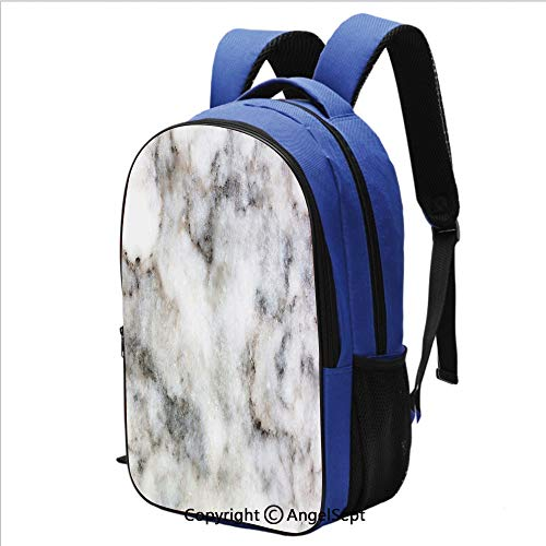 16.5 inch Laptop Backpack Rock Pattern Limestone with Stain Traces Surface Artistic Authentic Design Water Resistant Bookbag,Dust Grey White