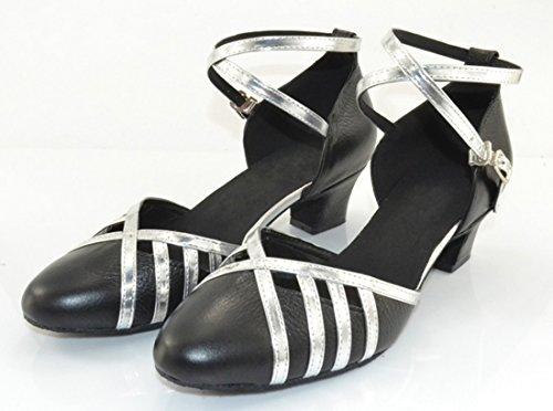 Tda Donna Cross Strap Tacco Basso In Pelle Punta Tonda Ballroom Latino Tango Scarpe Da Ballo Nero