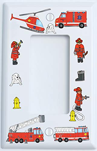 Fire Truck Single Rocker Light Switch Plate and Outlet Covers/Fire Engines/Firetruck Chidlren's Wall Decor (Single Rocker/GFCI Outlet Cover)