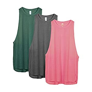 icyzone Workout Tank Tops for Women – Running Muscle Tank Sport Exercise Gym Yoga Tops Athletic Shirts(Pack of 3)