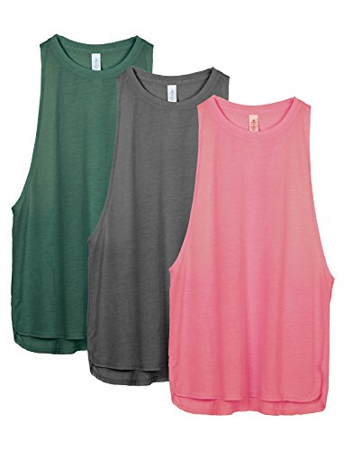 icyzone Yoga Tops Activewear Workout Clothes Sports Racerback Tank Tops for Women (L, Army/Charcoal/Pink)