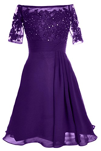 MACloth Women Off Shoulder Mother of Bride Dress with Sleeve Midi Cocktail Dress Morado