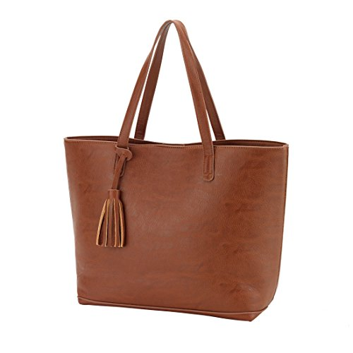 Camel Leather Tote Bag - 8