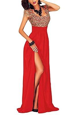 ZKESS Womens Cap Sleeve Scoop Neck Split Lace Evening Formal Dress