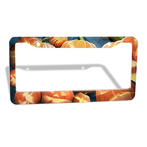 Halloween Widescreen Crazy Pumpkins License Plate Frame, 2 Pcs 4 Holes Aluminum Car Licence Plate Holder Covers For All Standard US - Sleek Car Accessories, Gorgeous Covers For License -