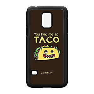 Sassy - You Had Me At Taco 10833 Black Hard Plastic Case Snap-On Protective Back Cover for Samsung? Galaxy S5 Mini by Sassy Slang + FREE Crystal Clear Screen Protector
